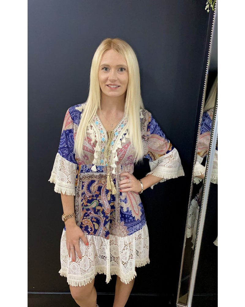 Adrienne paisley print and lace dress