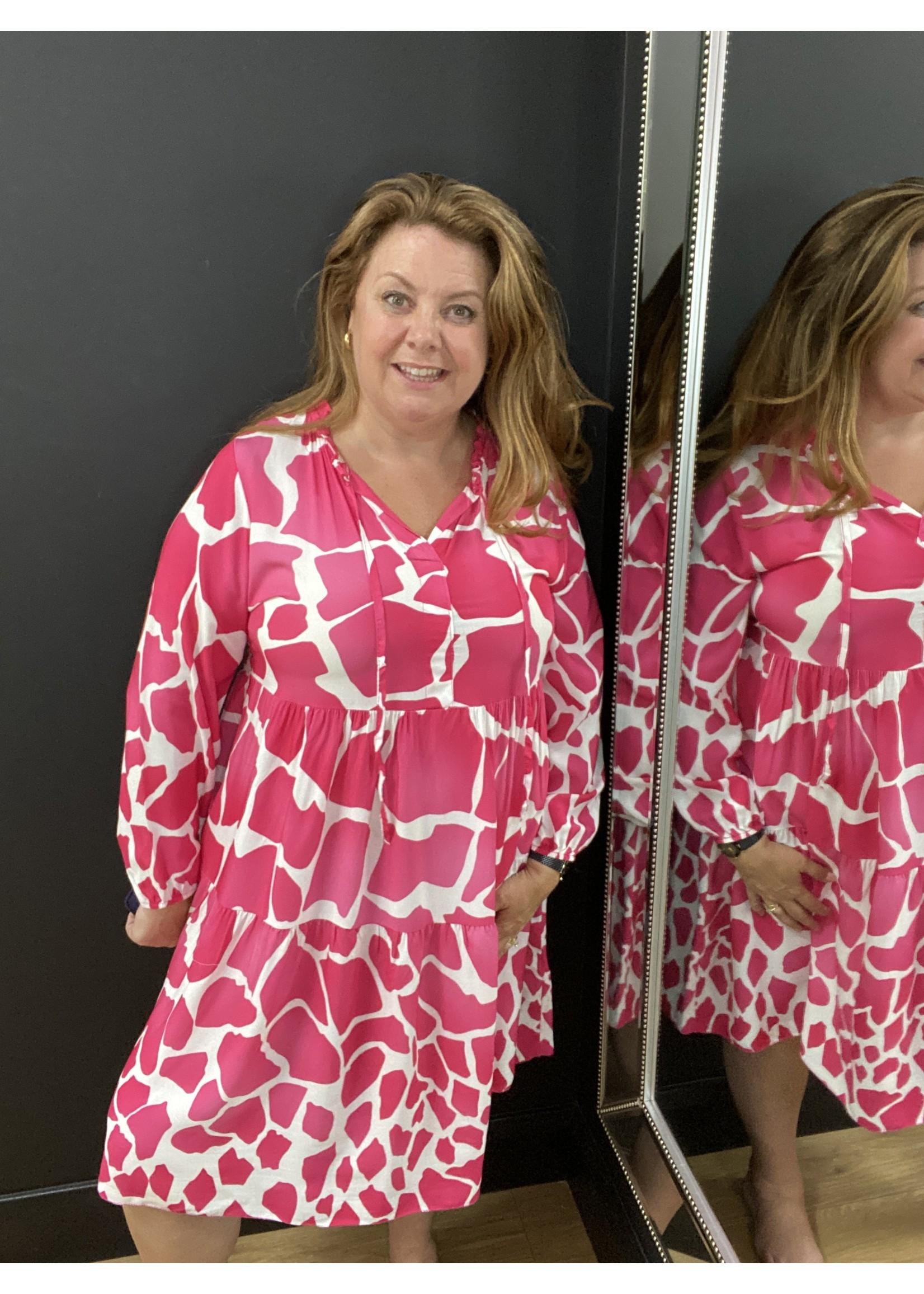 Gaynor giraffe print tiered swing dress