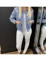 Stephanie shoulder and sleeve embellished denim jacket