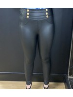 Bethany  button faux leather leggings