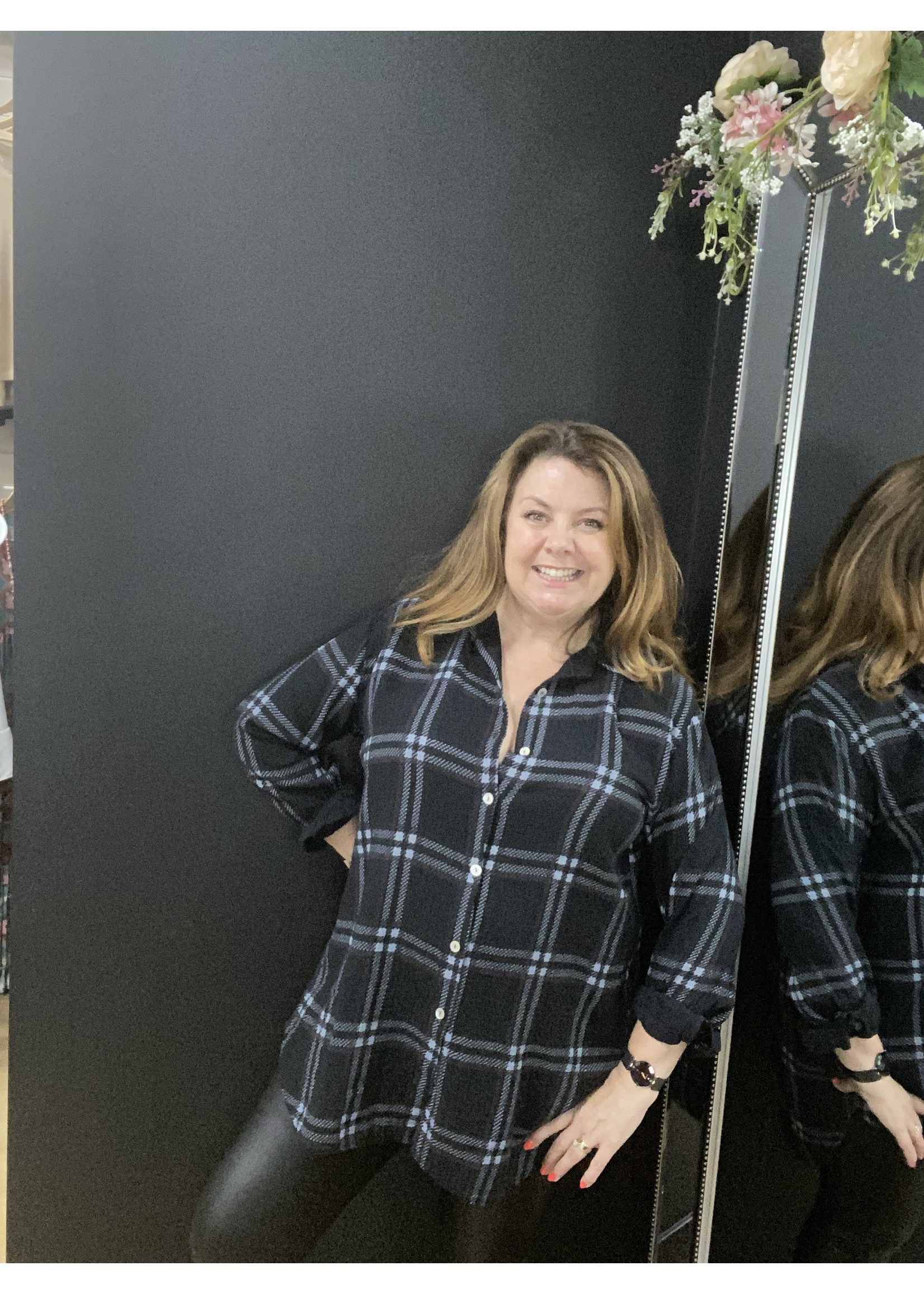 Beth check cheesecloth shirt