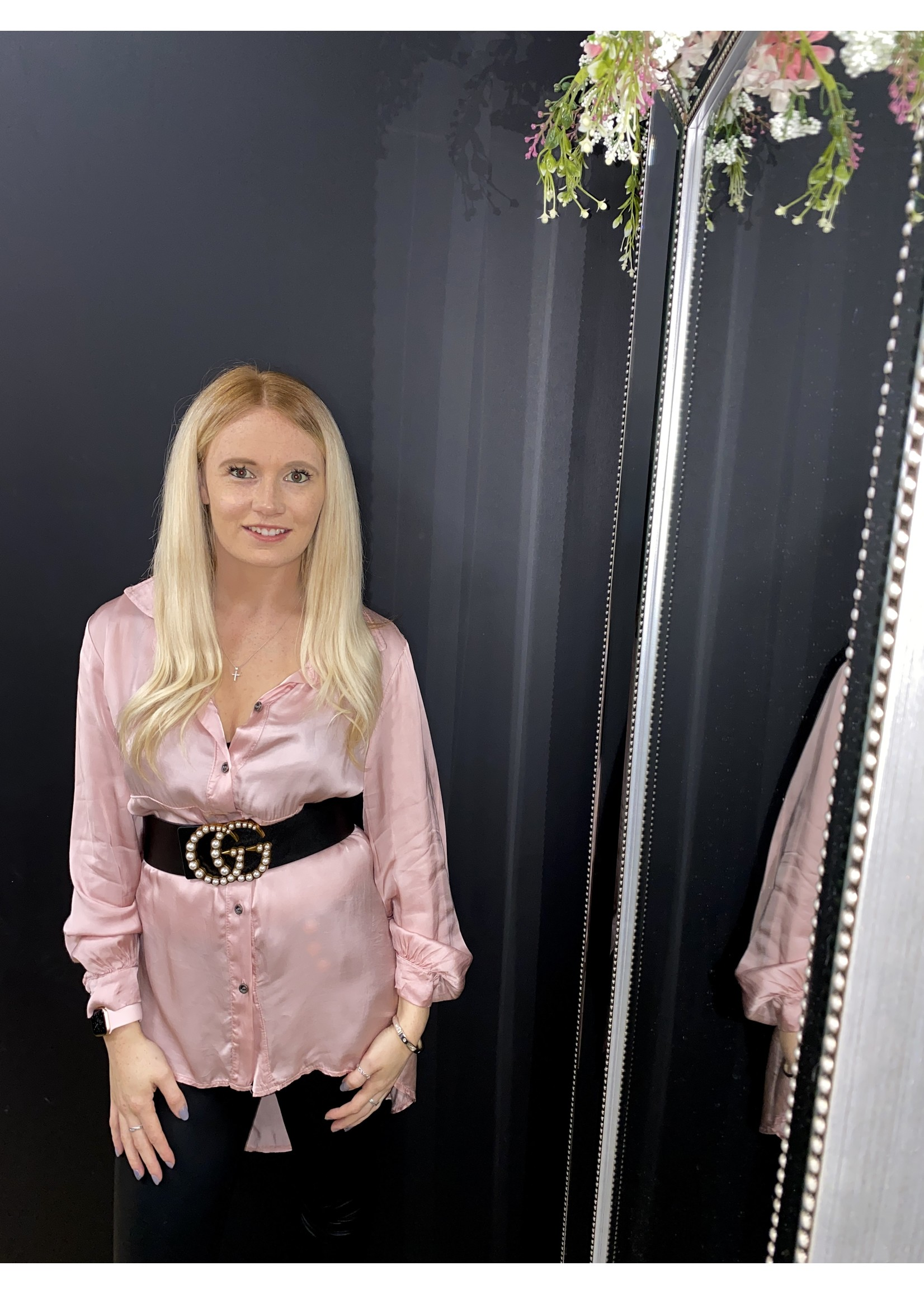 Sabrina oversized silky shirt