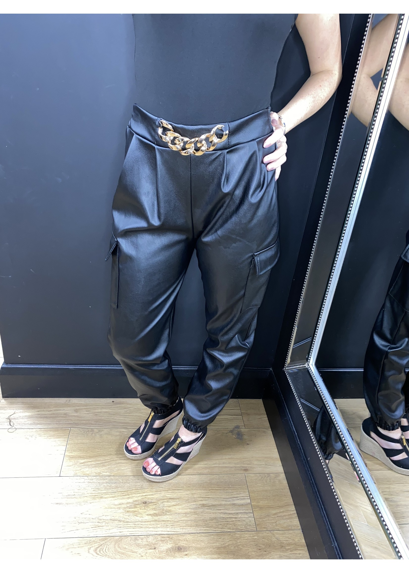 Cassie gold chain faux leather trousers