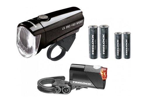 Trelock Verlichtingset LS350 + LS710 I-Go Sport Zwart