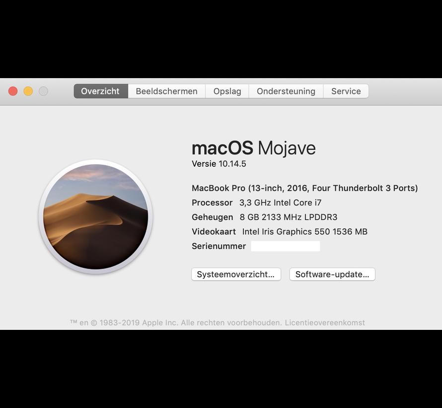 Macbook Pro 13'' Late 2016 3,3 GHz i7 8GB 512GB Flash Apple Care - Space Grijs