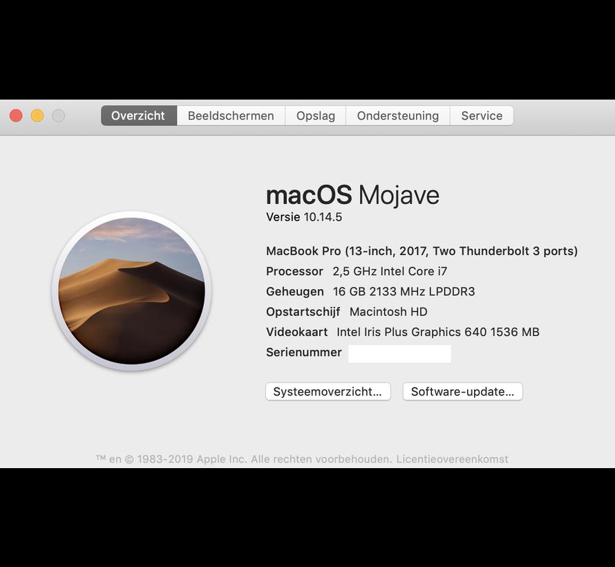 Macbook Pro 13'' Mid 2017 2,5 GHz i7 16GB 1TB Flash Apple Care - Space Grijs