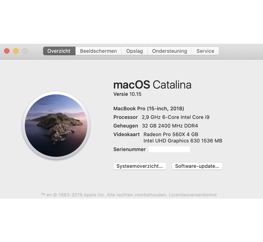Macbook Pro 15'' 2018 2,9 GHz i9 32GB 1 TB Flash - Radeon Pro 560X - Space Grijs