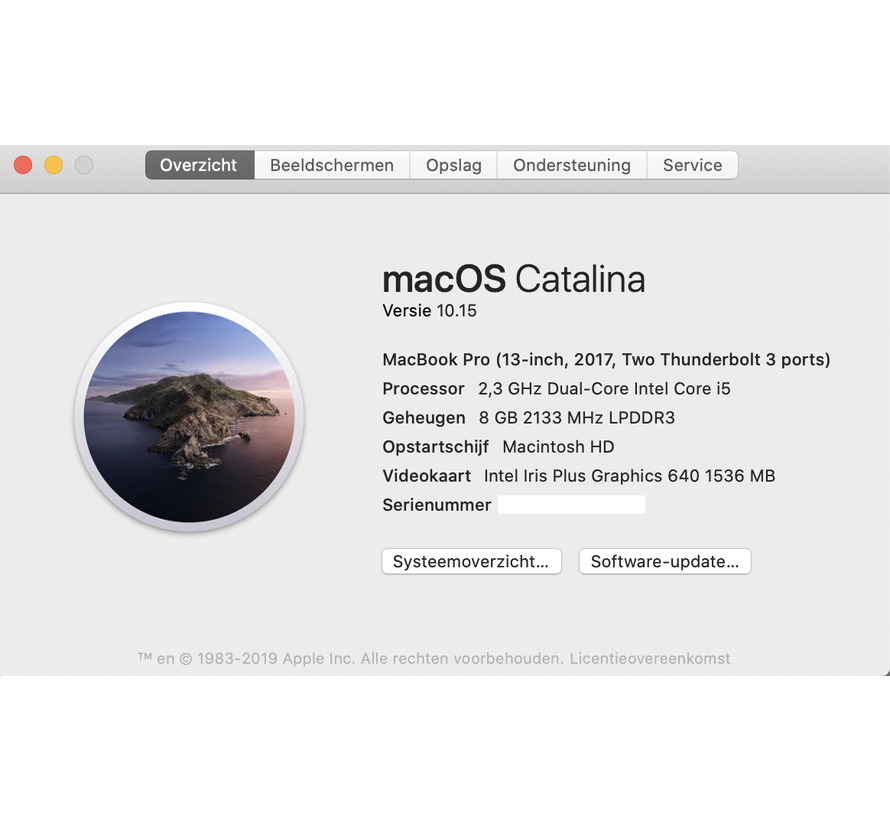 Macbook Pro 13'' Mid 2017 2,3 GHz i5 8GB 256GB Flash Apple Care - Space Grijs