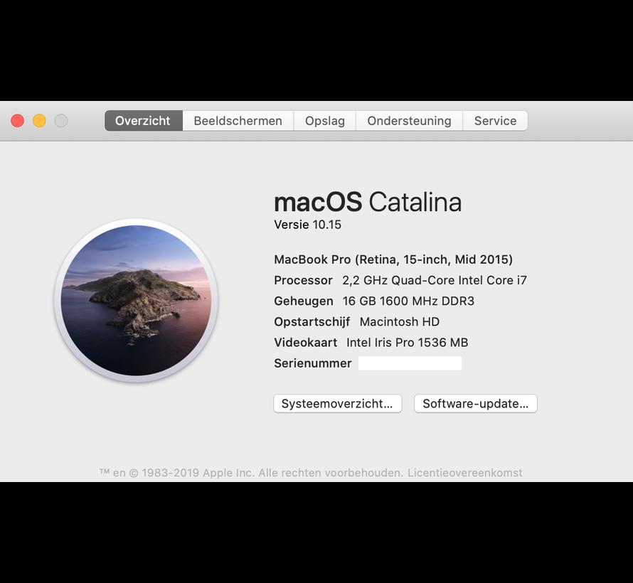 Macbook Pro 15'' Mid 2015 IG 2,2 GHz i7 16GB 512GB Flash