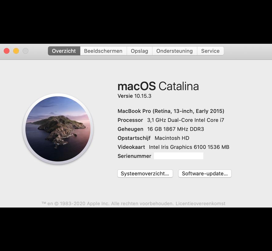 Macbook Pro 13'' Early 2015 3,1 GHz i7 16GB 512 GB Flash