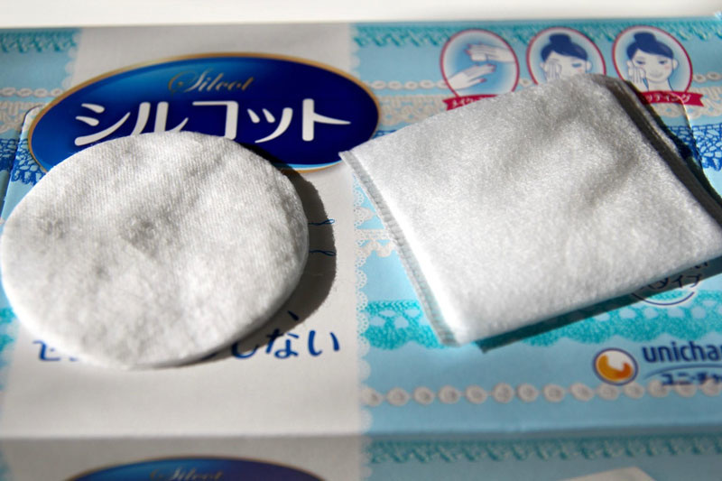 The Silcot Velvet Touch pad compared to a conventional cotton pad from the drug store.