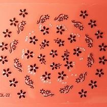 Sticker met zwarte bloemen en strass