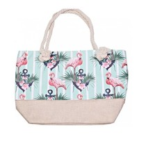 Strand tas met Flamingo's