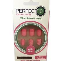 Full cover nageltips Pink Polka Dot, incl. lijm