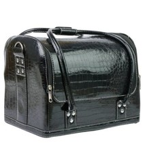 Zwarte croco cosmetica koffer met handvaten