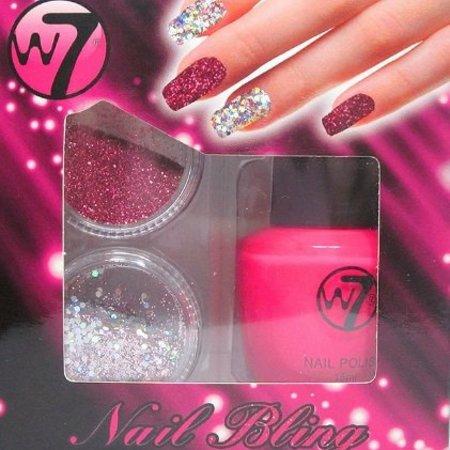 W7 set nagellak en glitters, kleur pink