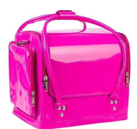 Roze LAK cosmetica koffer met handvaten