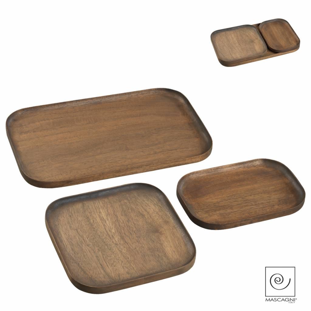 Mascagni A757 set houten dienbladen wengé