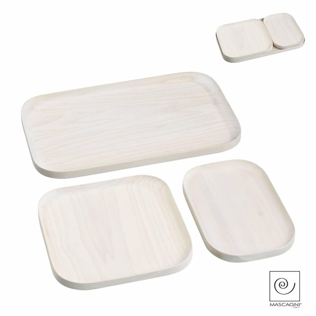 Mascagni A757 set houten dienbladen white wash
