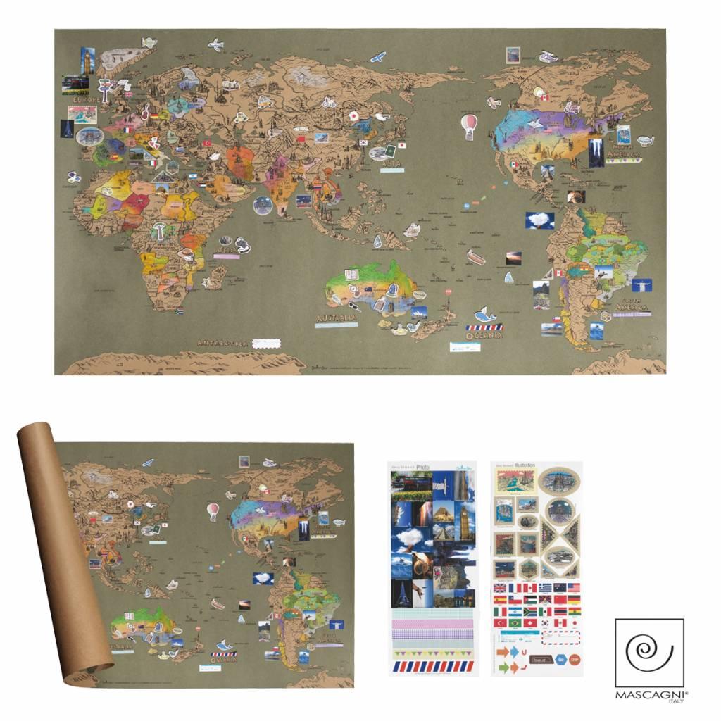Mascagni A792 wereldkaart vintage