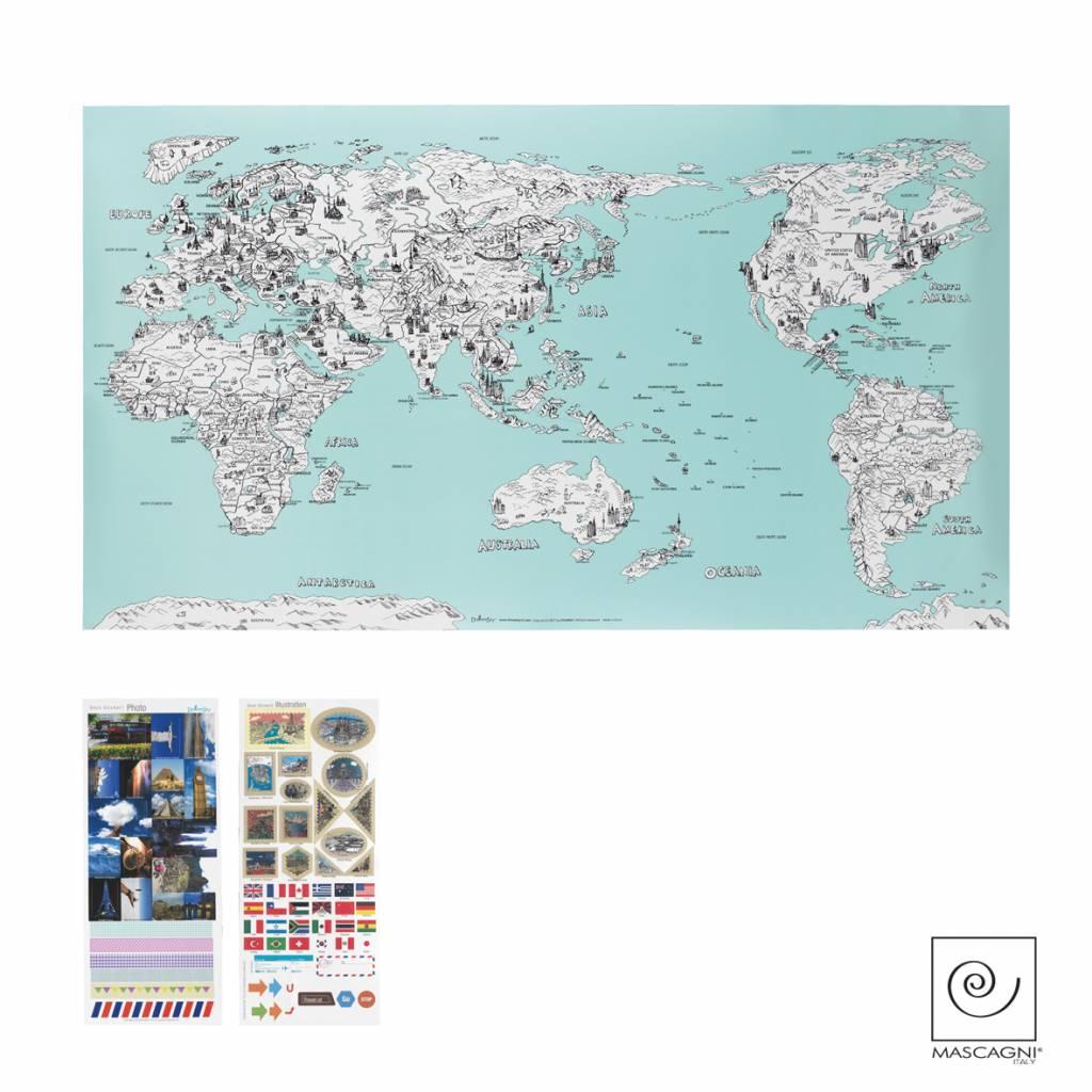 Mascagni A792 wereldkaart zeeblauw