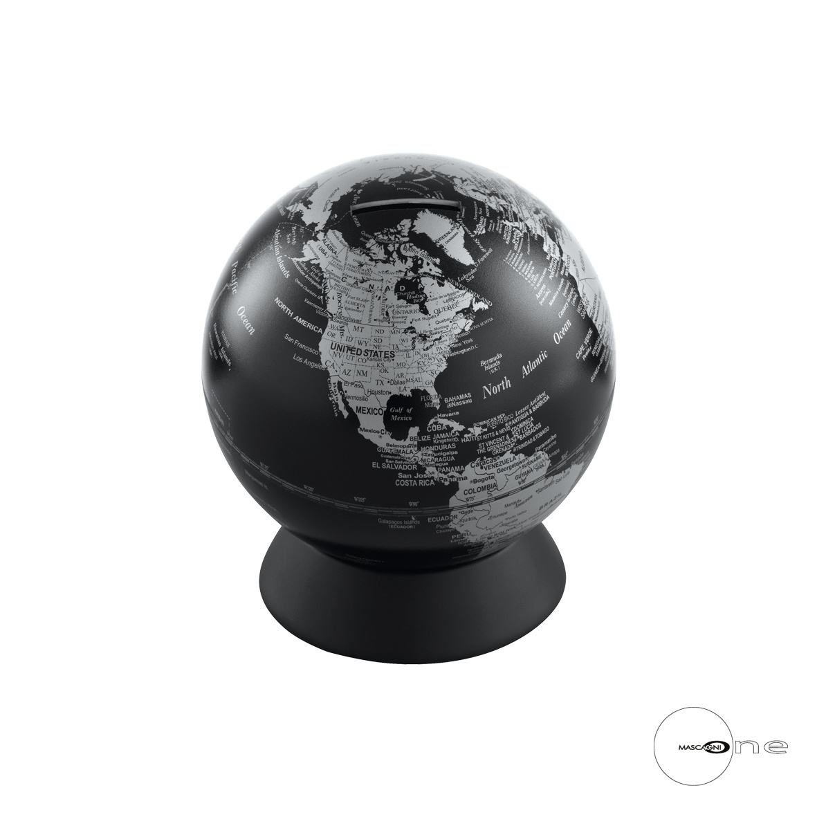Art Mascagni O1355 MONEY BOX GLOBE - COL. SILVER