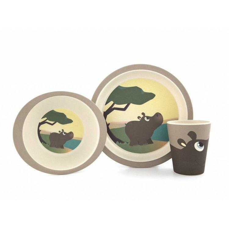 Yuunaa Eetservies bamboe - Nijlpaard