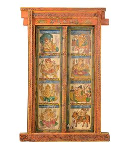 Pair of Beautiful Indian Painted Doors with Frame