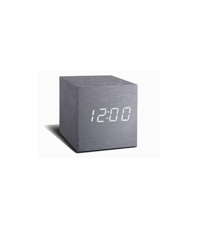 Cube Aluminium Click Clock / White LED