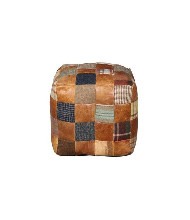Beanbag Cube Leather & Wool Mix