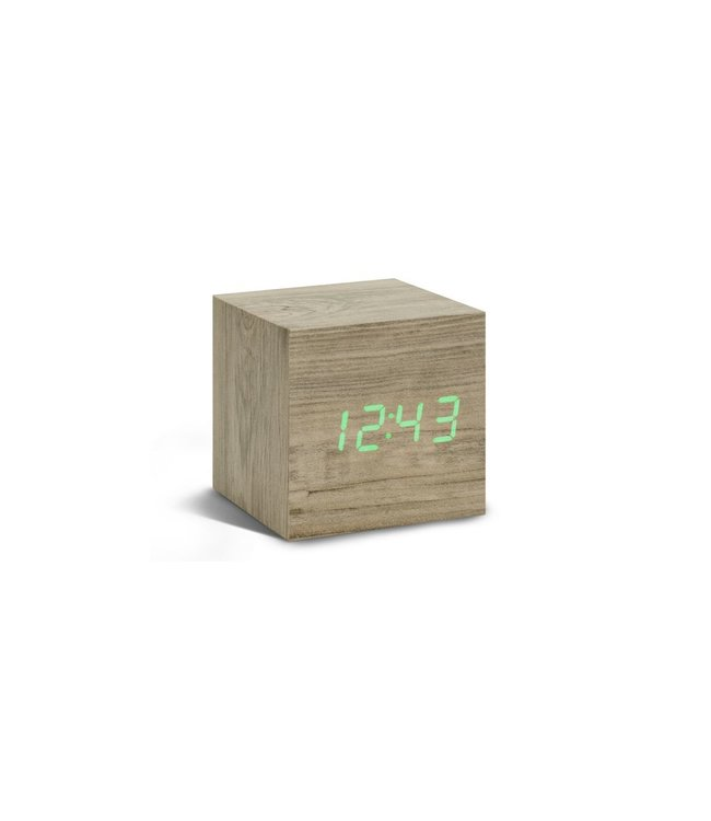 Cube Ash Click Clock / Green LED