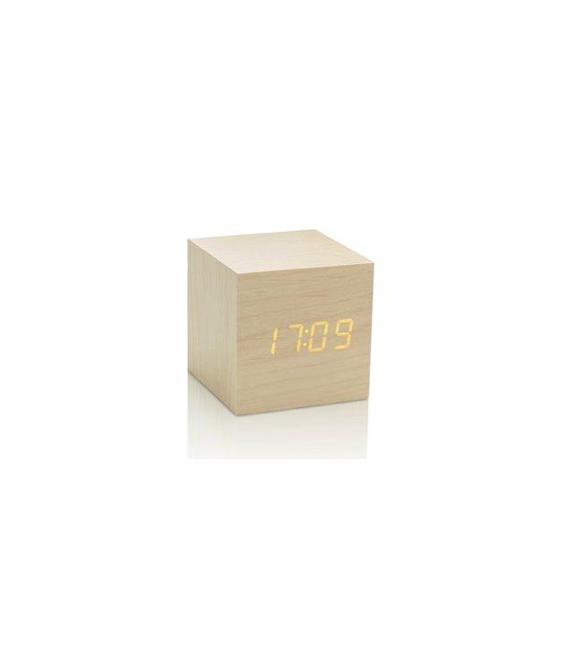 Cube Maple Click Clock / Yellow LED