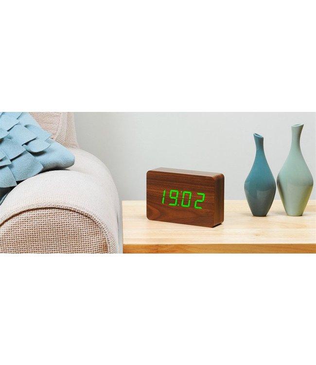Brick Walnut Click Clock / Green LED