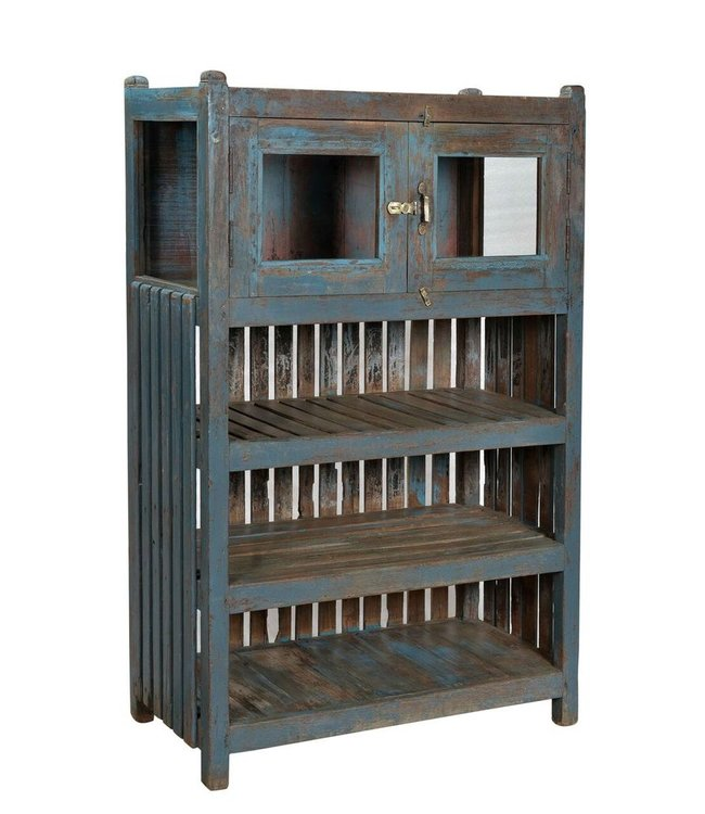 Blue Teak Kitchen Shelf Cabinet
