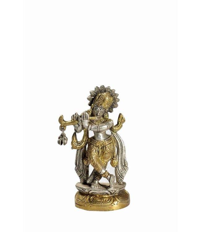 Two Tone Brass Krishna Statue