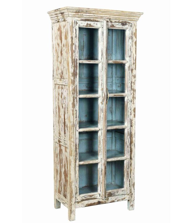 Distressed Cabinet with Blue Interior