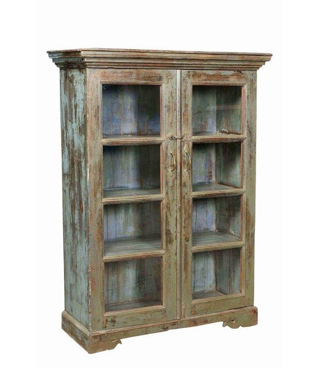 Glazed Old Teak Display Cabinet