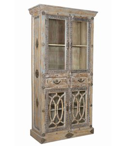 Glazed Painted Cabinet with Brass Detail