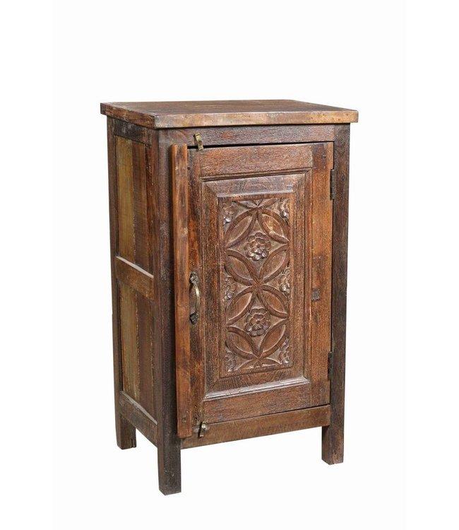 Bedside Cabinet with Old Carved Door