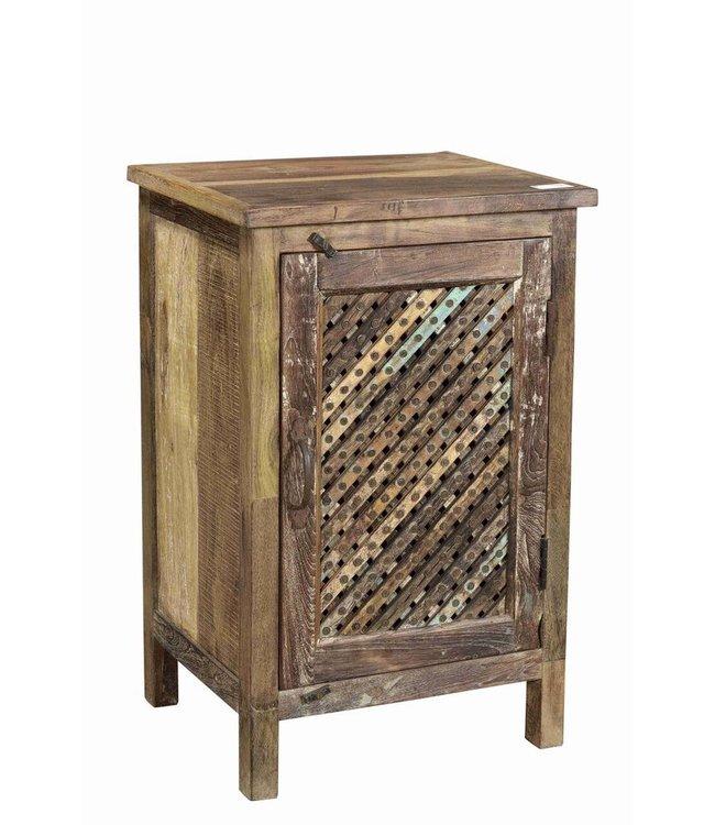 Small Wooden Cabinet with Lattice Door