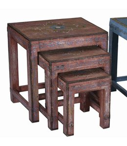 Painted Wooden Stool (set of 3)