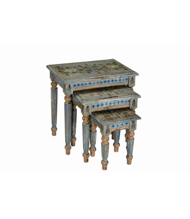 Painted Nest of Tables (set of 3)