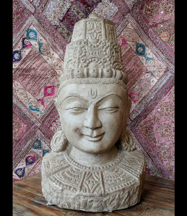 Hand Carved Sandstone Shiva Bust