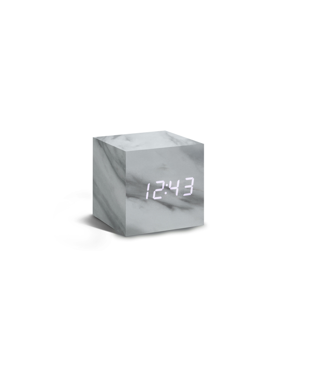 Cube Marble Click Clock - White Display