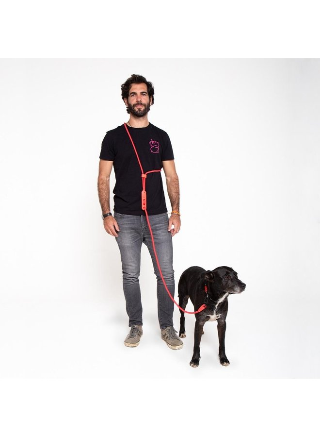 Hands Free Leash - NEON CORAL
