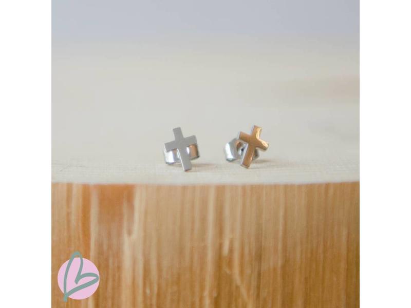ZAG  Bijoux oorstekers zilver kruisje