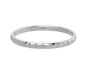 IXXXI aanschuif ring zilver piramide 2mm