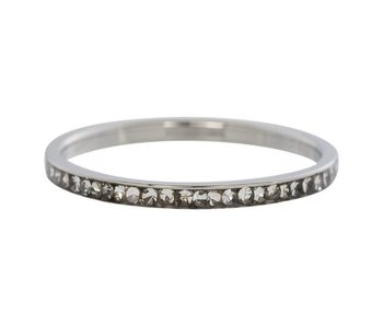 IXXXI aanschuif ring zilver 'zirconia crystal' 2mm