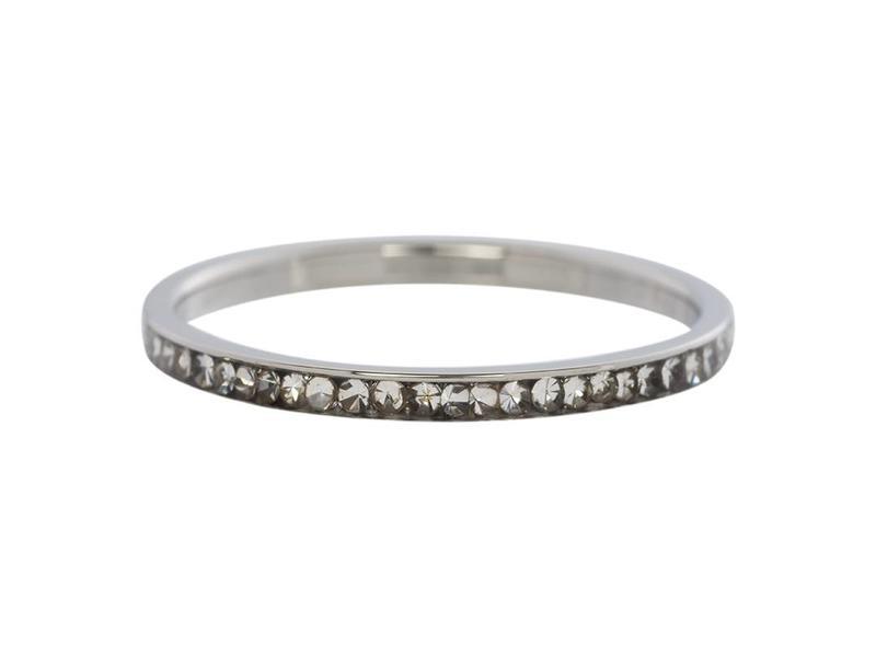 IXXXI aanschuif ring zilver 'zirconia crystal' 2mm