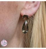 Viva goudkleurige oorbellen met groen/grijze kleur
